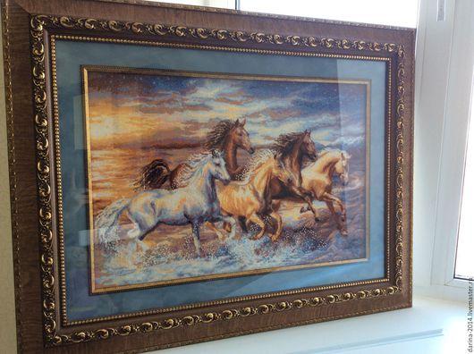 """Животные ручной работы. Ярмарка Мастеров - ручная работа. Купить Картина"""" Кони на закате"""". Handmade. Коричневый, лошади, бисер"""