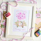 Свадебный салон ручной работы. Ярмарка Мастеров - ручная работа Воздушные шары пожеланий с отпечатками пальцев для розовой свадьбы. Handmade.