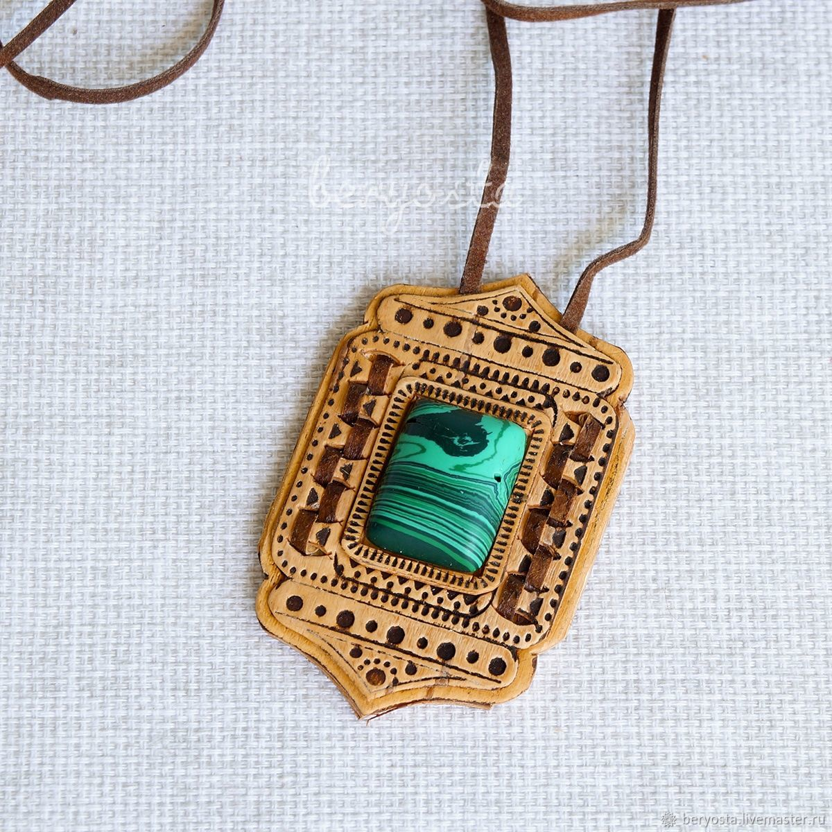 Pendant made of birch bark 'Juliana' with malachite. Decoration of wood, Pendants, Novosibirsk,  Фото №1