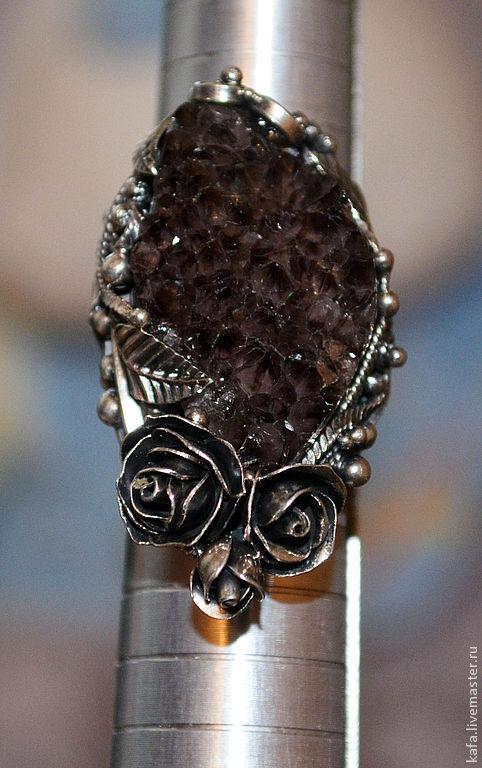 Кольца ручной работы. Ярмарка Мастеров - ручная работа. Купить кольцо с аметистом (щетка). Handmade. Тёмно-фиолетовый