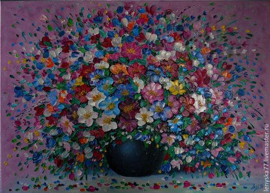 Картины цветов ручной работы. Ярмарка Мастеров - ручная работа. Купить Цветочное настроение  50х70см. Handmade. Картина в подарок