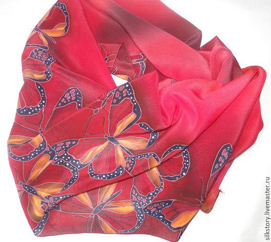 Шарфы и шарфики ручной работы. Ярмарка Мастеров - ручная работа. Купить шарф Крылья бабочки. Handmade. Купить, холодный батик
