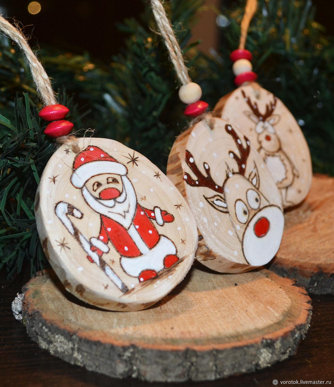 новогодние деревянные игрушки на елку фото как