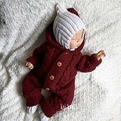 Одежда детская handmade. Livemaster - original item Jumpsuit beanie booties knitted Cherry. Handmade.