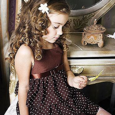 Работы для детей, ручной работы. Ярмарка Мастеров - ручная работа Шоколад-1 праздничное платье для девочки. Handmade.