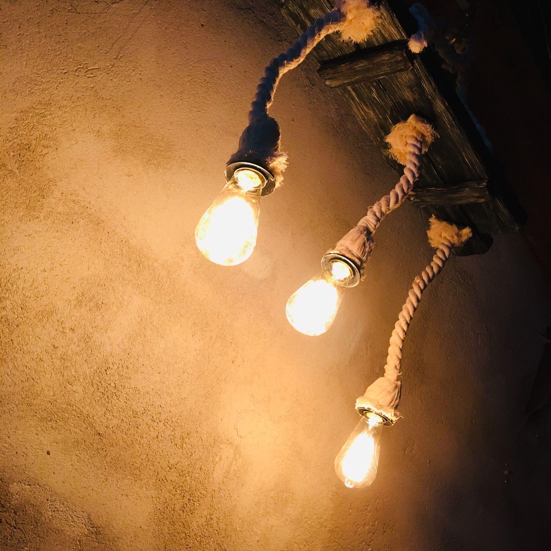 светильник в стиле лофт из хвойных пород дерева