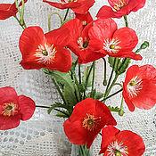 Цветы и флористика ручной работы. Ярмарка Мастеров - ручная работа Алые маки из холодного фарфора. Handmade.
