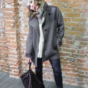 """Одежда ручной работы. Ярмарка Мастеров - ручная работа Пальто шерстяное с кожаными вставками """"Фьюжн"""". Handmade."""