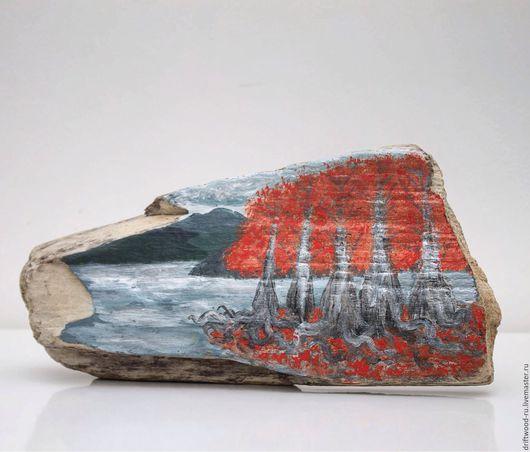 """Пейзаж ручной работы. Ярмарка Мастеров - ручная работа. Купить """"Кипарисовое озеро"""" - панно на морском дереве. Handmade. Картина, сукко"""