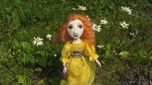 Коллекционные куклы ручной работы. Ярмарка Мастеров - ручная работа. Купить Злата. Handmade. Желтый, купить авторскую куклу, габардин