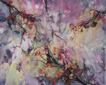 """Абстракция ручной работы. Ярмарка Мастеров - ручная работа. Купить """"Цветение"""" флористический коллаж. Handmade. Сиреневый, Батик, цветочная композиция"""