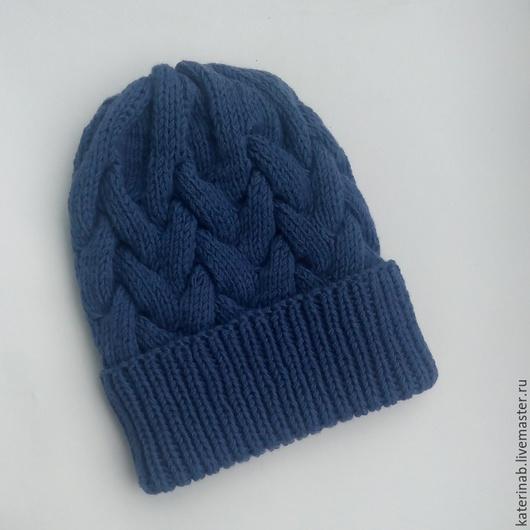 Шапки ручной работы. Ярмарка Мастеров - ручная работа. Купить Шапка косами. Handmade. Тёмно-синий, шапочкп, зимняя шапка