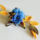 Украшение для волос или брошь зажим на воротник жакета с желтыми и бронзовыми листьями и небесно-голубыми цветами. Цена 950р