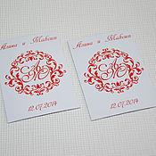Сувениры и подарки ручной работы. Ярмарка Мастеров - ручная работа Red Monogram... Свадебные магниты для гостей. Handmade.