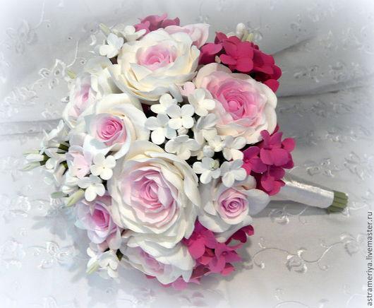 Свадебные цветы ручной работы. Ярмарка Мастеров - ручная работа. Купить Свадебный букет невесты  Розовый из полимерной глины. Handmade.