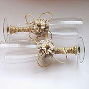 Свадебный салон handmade. Livemaster - original item Glasses wedding rustic rustic. Handmade.
