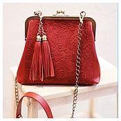 Сумки и аксессуары handmade. Livemaster - original item Red leather handbag. Handmade.