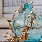Свадебный салон ручной работы. Ярмарка Мастеров - ручная работа Свадебный венок с натуральным речным жемчугом и золотыми листьями. Handmade.