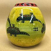 Посуда handmade. Livemaster - original item Calabass Bombil lizards with porcelain (hand painted). Handmade.
