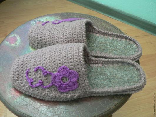 Обувь ручной работы. Ярмарка Мастеров - ручная работа. Купить домашние тапочки. Handmade. Розовый, Пряжа полушерсть, подошва