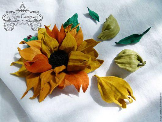 """Броши ручной работы. Ярмарка Мастеров - ручная работа. Купить Брошь """"Подсолнух"""". Handmade. Оранжевый, брошь-цветок, кожаный цветок"""