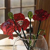 Для дома и интерьера ручной работы. Ярмарка Мастеров - ручная работа Цветы из стекла Маковый букет фьюзинг. Handmade.