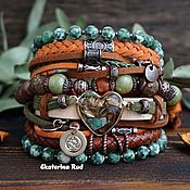 Украшения handmade. Livemaster - original item Wide bracelet with stones in the Boho style