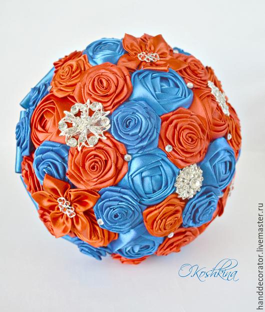 Свадебные цветы ручной работы. Ярмарка Мастеров - ручная работа. Купить Брошь-букет невесты, сине-красный букет. Handmade.