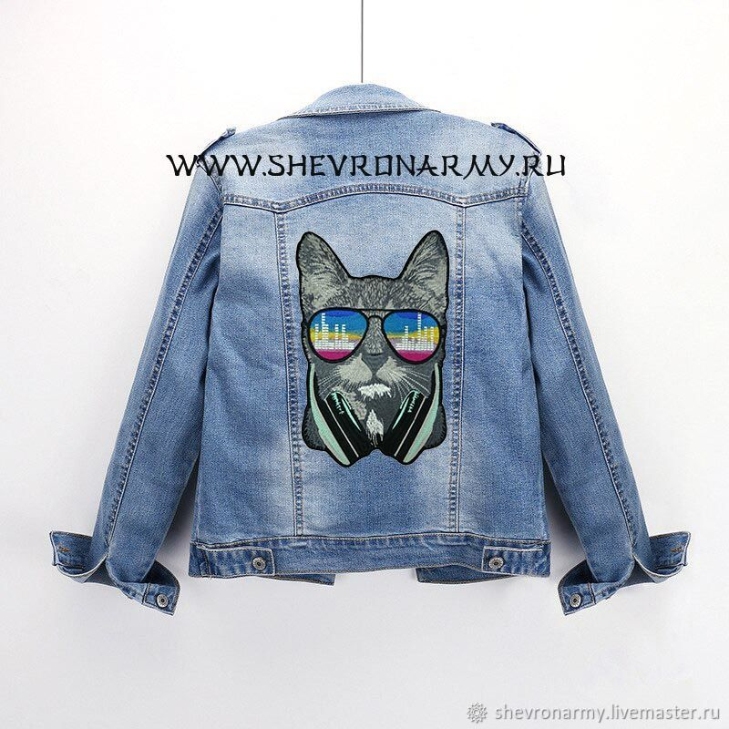 Patch on the jacket cat in headphones and glasses chevron patch, Patches, St. Petersburg,  Фото №1