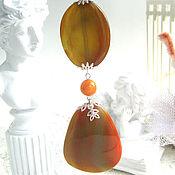 Украшения handmade. Livemaster - original item Jewelry sets: Pendant of yellow-orange wavy agate. Handmade.