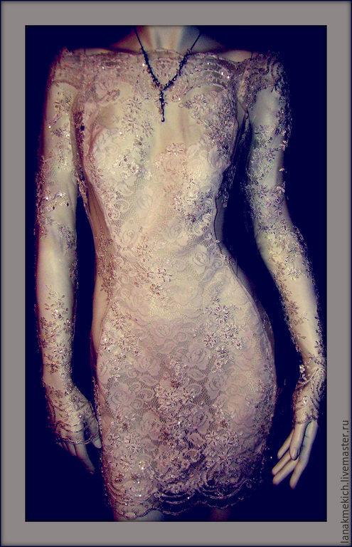 """Платья ручной работы. Ярмарка Мастеров - ручная работа. Купить Платье кружевное с длинным рукавом.""""Бисер"""". Handmade. Белый"""