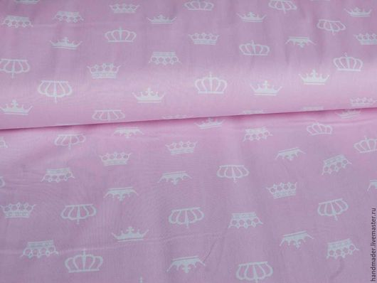 """Шитье ручной работы. Ярмарка Мастеров - ручная работа. Купить Ткань бязь хлопок 100% """"Короны"""". Handmade. Розовый"""