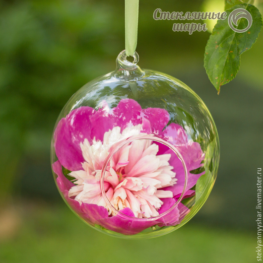Стеклянный шарик подвесная ваза с петелькой и отверстием для декора, диаметр 15 см
