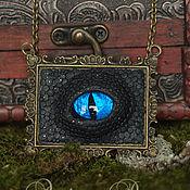 Украшения ручной работы. Ярмарка Мастеров - ручная работа Чёрный дракон с синим глазом. Handmade.