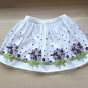 Одежда детская handmade. Livemaster - original item Lush elegant skirt for girls with embroidered violets. Handmade.