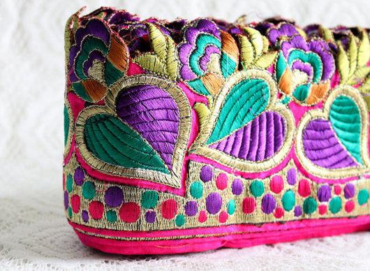 Шитье ручной работы. Ярмарка Мастеров - ручная работа. Купить Цветная индийская тесьма на шелке. Handmade. Фуксия, тесьма для декора
