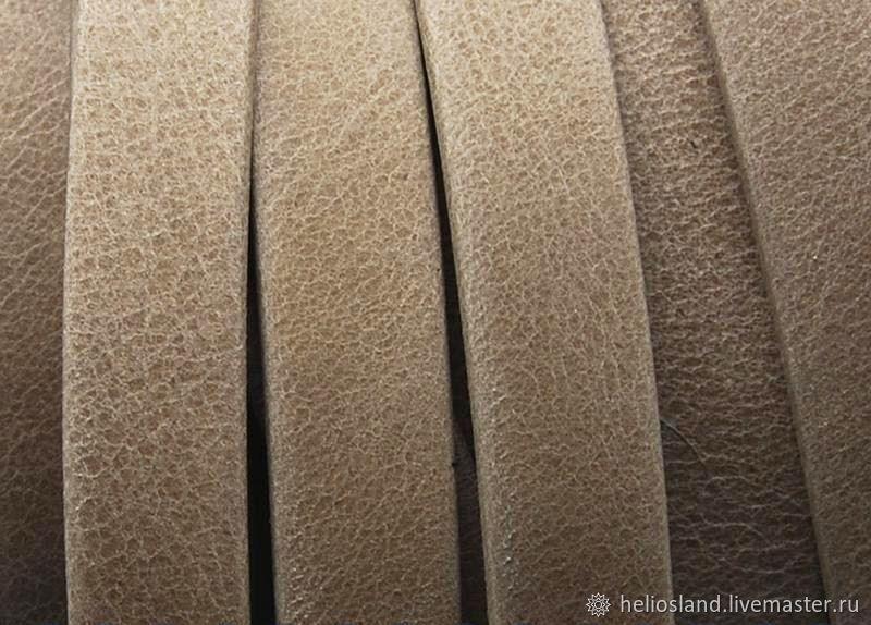 Копия работы Кожаный шнур плоский 10 мм бежевый, премиум, Шнуры, Москва,  Фото №1