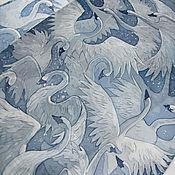 Аксессуары ручной работы. Ярмарка Мастеров - ручная работа Шелковый шарф с ручной росписью (батик) -  Лебеди. Handmade.