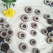 Материалы для творчества ручной работы. Ярмарка Мастеров - ручная работа Пуговицы кокосовые широкий ободок 10мм 13мм 4 прокола. Handmade.