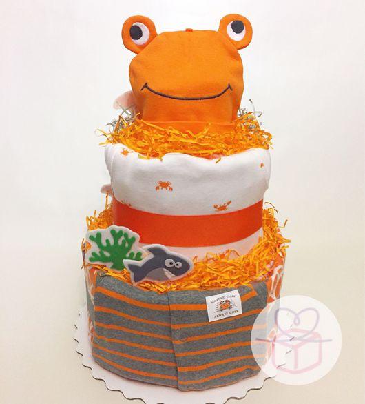 """Подарки для новорожденных, ручной работы. Ярмарка Мастеров - ручная работа. Купить Торт из подгузников """"Оранжевое море, оранжевый краб"""". Handmade."""