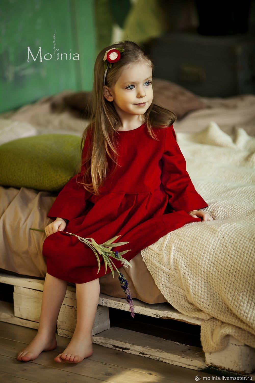 Платье для девочки льняное нарядное красное, Платья, Калининград,  Фото №1