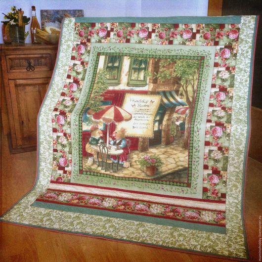 Текстиль, ковры ручной работы. Ярмарка Мастеров - ручная работа. Купить Лоскутное одеяло плед Мышки в кафе. Handmade. Квилт