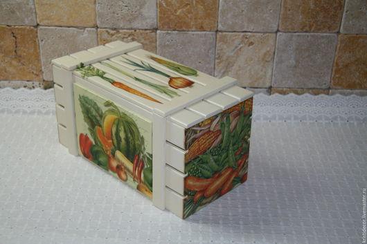 """Корзины, коробы ручной работы. Ярмарка Мастеров - ручная работа. Купить Ящик для лука-чеснока """"Овощи"""". Handmade. Ящик, подарок"""
