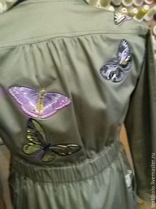 Верхняя одежда ручной работы. Ярмарка Мастеров - ручная работа. Купить вышивка на одежде. Handmade. Хаки, куртка женская