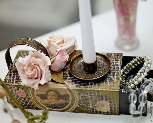 Подсвечники ручной работы. Ярмарка Мастеров - ручная работа. Купить Подсвечник-шкатулка из металла,декорирован розами из полимерной глины. Handmade.