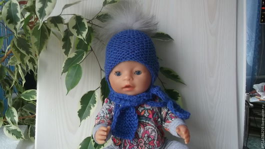 Одежда для кукол ручной работы. Ярмарка Мастеров - ручная работа. Купить Шапочка и шарфик синие для Бебика.. Handmade. Синий