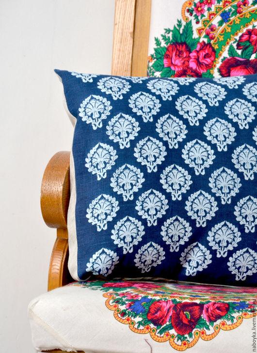 Текстиль, ковры ручной работы. Ярмарка Мастеров - ручная работа. Купить Ручная кубовая набойка. натуральный индиго. Handmade. Подушка