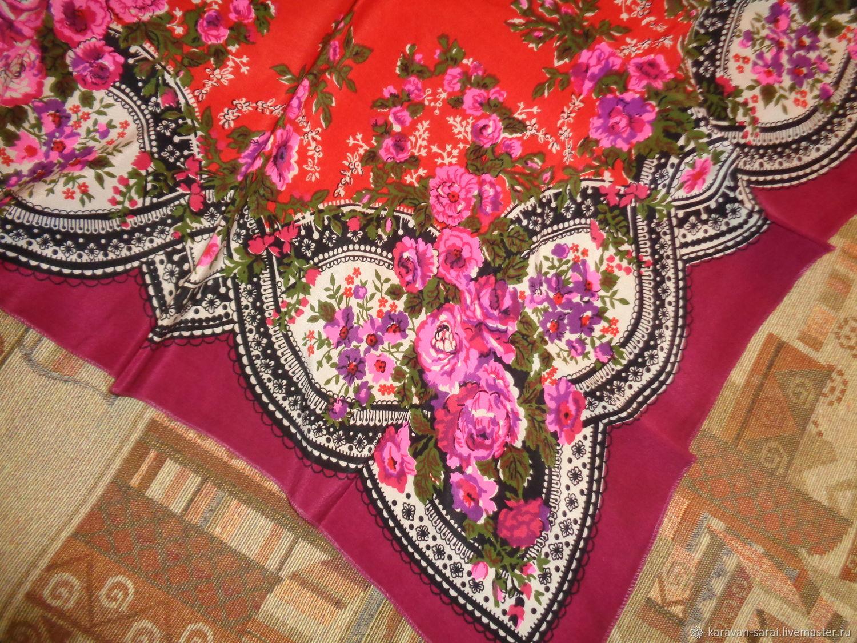 Винтаж: Платок павловопосадский, винтажный, шелковый, Винтажные аксессуары, Нальчик,  Фото №1