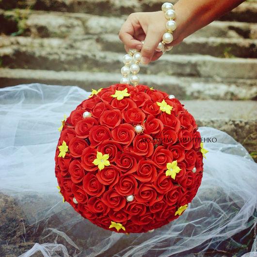Свадебные цветы ручной работы. Ярмарка Мастеров - ручная работа. Купить Свадебный букет. Шар букет.. Handmade. Ярко-красный