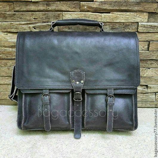 Мужские сумки ручной работы. Ярмарка Мастеров - ручная работа. Купить Портфель из натуральной кожи. Handmade. Темно-серый